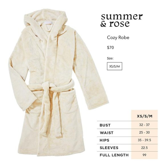 FitFabFun Summer /& Rose Cozy Robe ~ XS//S//M ~ NEW W//TAGS